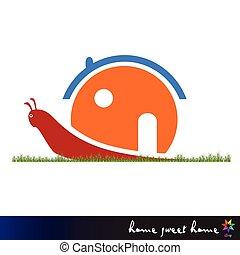 snail carries house vector illustration