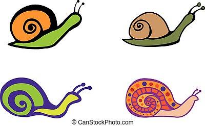 snail - Set of color graphic snails