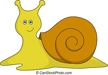Snail - Cheerful smiling yellow blue-eyed snail with a brown...