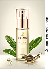 Snail extract cosmetic ads. Cosmetic packaging design....