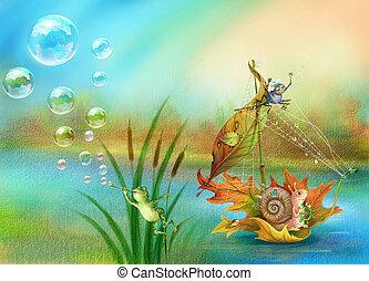 Snail floating on water. raster illustration