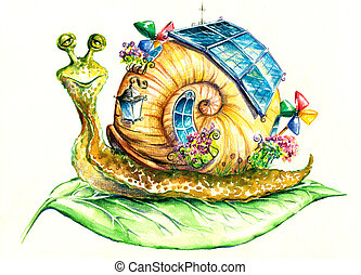 Snail - Happy snail in eco-house.
