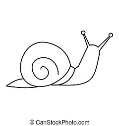Snail icon, outline style - Snail icon. Outline illustration...