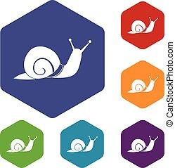 Snail icons set