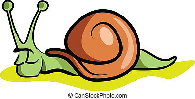 Illustration of a slow snail resting for the day