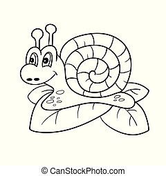Snail isolated line art, Page for coloring book, Hand drawn vector illustration