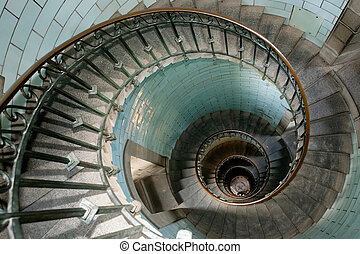 high luxurious lighthouse staircase with metal guardrail and opaline walls, Eckmul Brittany