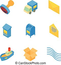 Snail mail icons set, isometric style
