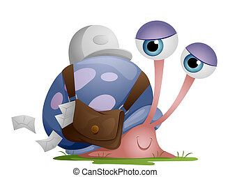 Snail Mailman with Clipping Path