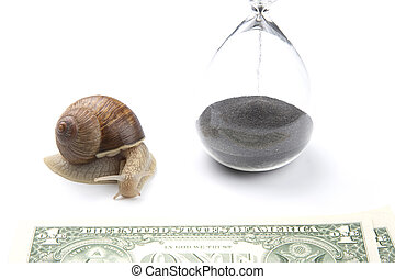 snail next to the hourglass and dollars on a white background. speed and stability in increasing income. time for work and rest. financial business success. time investment target