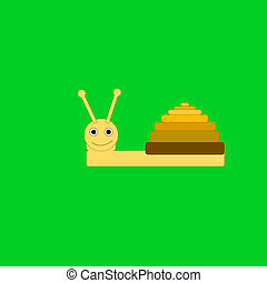 Snail on the green background