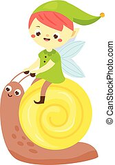 snail., pequeno, jardim, menino, duende, pixie, cute