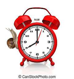Red alarmer with snail on the white background.