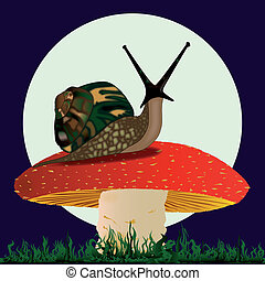 Snail resting on a Mushroom