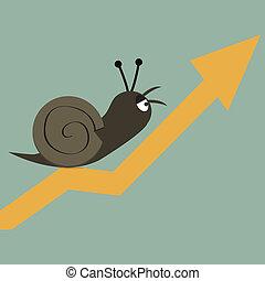 Snail slowly walk on arrow, stock concept.