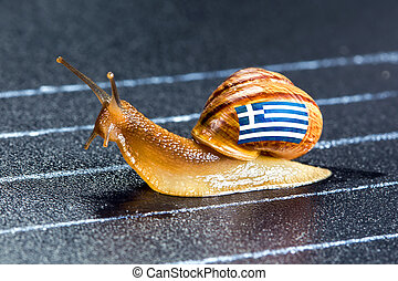Snail under flag of Greece on sports track