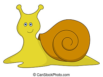 Snail with a brown bowl - Cheerful smiling yellow snail with...
