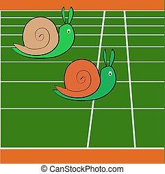 Snails race on sports track near the finish line