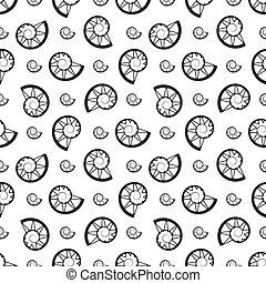 snails shells on white background