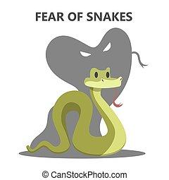 snake., 恐れ, 不合理, 動物, 危険