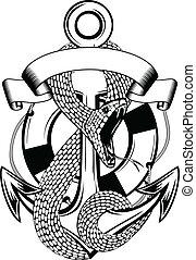 snake anchor and ring-buoy - Vector illustration snake...