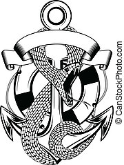 snake anchor and ring-buoy - Vector illustration snake...