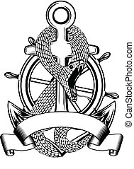 Vector illustration snakes twists an anchor and steering wheel on white background