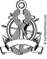 snake anchor and steering wheel - Vector illustration snakes...