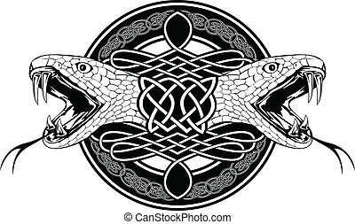 snake and Celtic patterns - The vector image of head of...