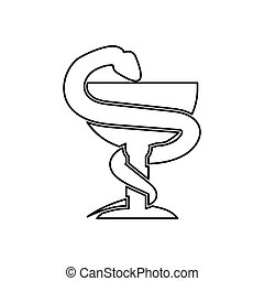 Snake and cup black color icon . - Snake and cup it is black...