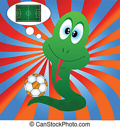 Snake and football - Snake with a football on an original ...