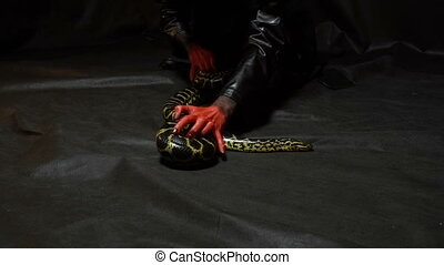 Snake and woman in black hood - Footage of woman with bloody...