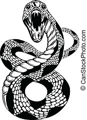 snake attacke - Vector illustration of snake with an open...