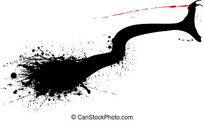 Editable vector grunge silhouette of a striking snake