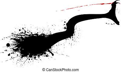 Snake bite - Editable vector grunge silhouette of a striking...