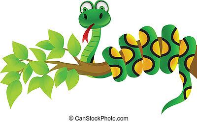 Snake cartoon - Vector illustration of green snake, linear...