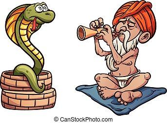 Snake charmer - Cartoon snake charmer. Vector clip art...