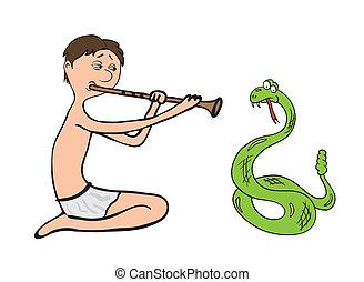 snake charmer, fakir vector illustration