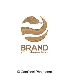Snake Circle Logo. flat design. Vector Illustration on white background.
