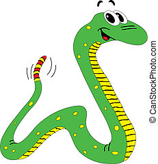 Snake - Vector illustration of funny green snake