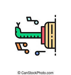 Snake, cobra, circus animal show flat color line icon.
