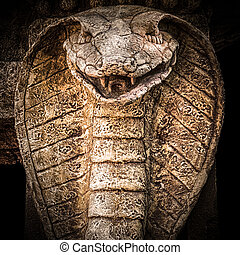 snake., cobra, gebeeldhouwd kunstwerk