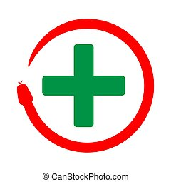 Snake coiled with plus symbol. icon for the health industry