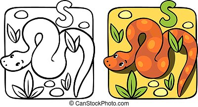 Snake coloring book. Alphabet S
