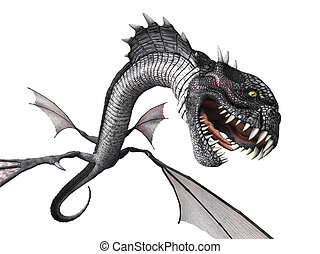 Snake Dragon Attacking - A snake dragon lunges at you from...