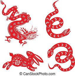 Snake, dragon, rabbit.