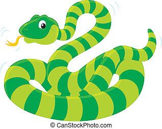 Snake - green striped snake