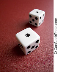 Close up of a pair of dice with shallow DOF