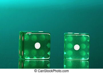 snake eyes - Dice with the ones showing green on green