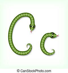 Snake font. Letter C - Font made from green snake. Letter C